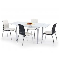 L31 baltas stiklinis išskleidžiamas valgomasis stalas
