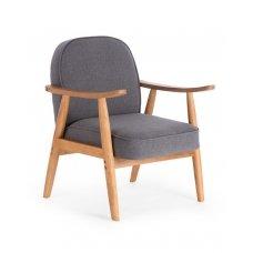 RETRO pilkas minkštas fotelis