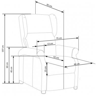 AGUSTIN pilkas fotelis su išskleidžiamu pakoju 12