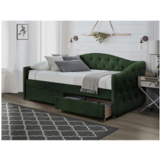 ALOHA bed with drawers dark green velvet