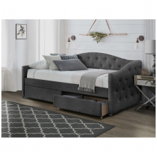 ALOHA bed with gray velvet drawers