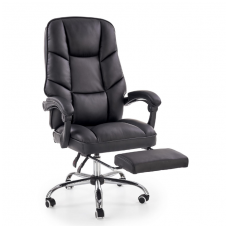 ALVIN black guide office chair on wheels and drop down footrest
