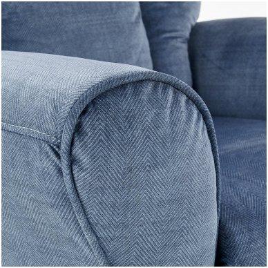 BARD tamsiai mėlynas fotelis su išskleidžiamu pakoju 8