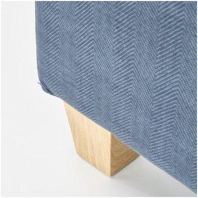 BARD tamsiai mėlynas fotelis su išskleidžiamu pakoju 9