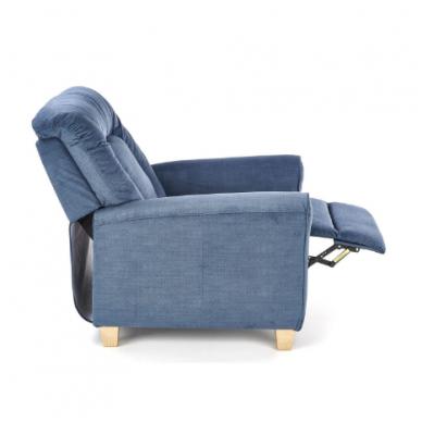 BARD tamsiai mėlynas fotelis su išskleidžiamu pakoju 11