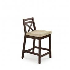 BORYS LOW tamsaus graikinio riešuto spalvos medinė baro kėdė