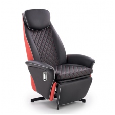 CAMARO juodai - raudonas fotelis su išskleidžiamu pakoju