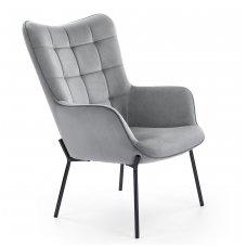 CASTEL pilkas minkštas fotelis
