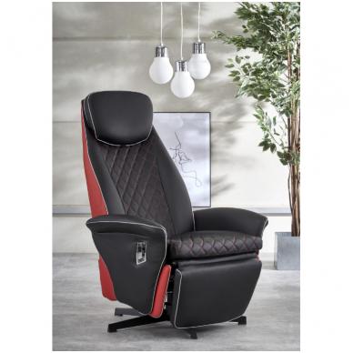 CAMARO juodai - raudonas fotelis su išskleidžiamu pakoju 2