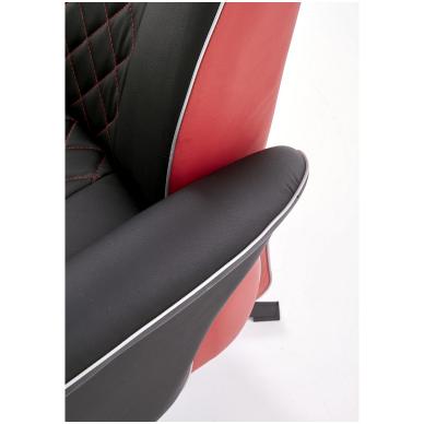 CAMARO juodai - raudonas fotelis su išskleidžiamu pakoju 10