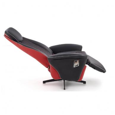 CAMARO juodai - raudonas fotelis su išskleidžiamu pakoju 12