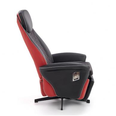 CAMARO juodai - raudonas fotelis su išskleidžiamu pakoju 13