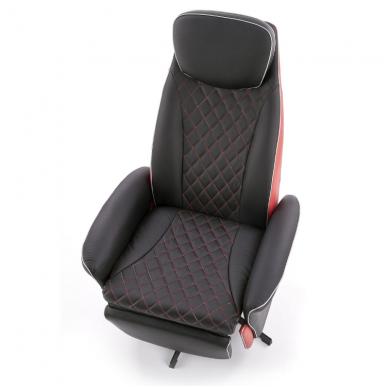 CAMARO juodai - raudonas fotelis su išskleidžiamu pakoju 4