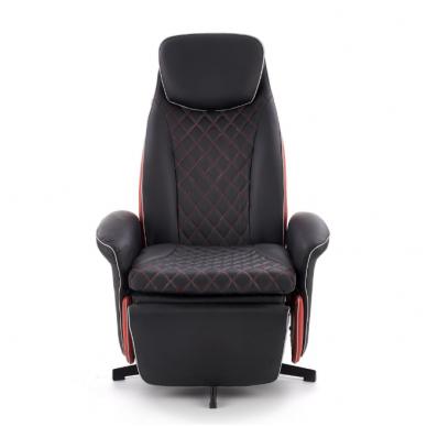 CAMARO juodai - raudonas fotelis su išskleidžiamu pakoju 5