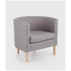 CLUBBY minkštas pilkas fotelis