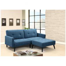 CORNER mėlyna išskleidžiama sofa su pakoju