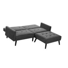 CORNER tamsiai pilka išskleidžiama sofa su pakoju