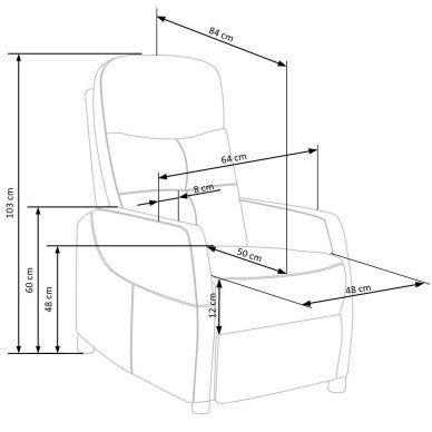 FELIPE tamsiai pilkas fotelis su išskleidžiamu pakoju 13