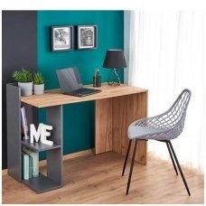 FINO rašomasis stalas su lentynom  ( ąžuolo kraft / antracitas)