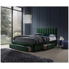 GRACE bed with drawers dark green velvet