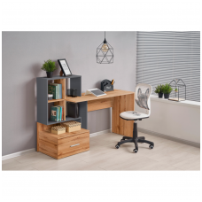 GROSSO desk with shelves and drawer wotan oak