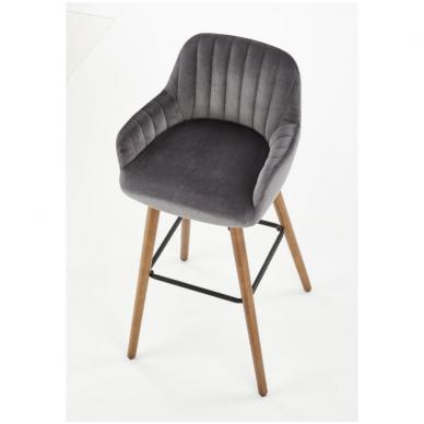 H-93 tamsiai pilka baro kėdė su kojelėmis 3