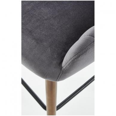 H-93 tamsiai pilka baro kėdė su kojelėmis 7