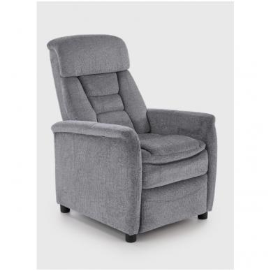 JORDAN pilkas spalvos fotelis su išskleidžiamu pakoju