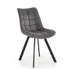 K332 tamsiai pilka metalinė kėdė