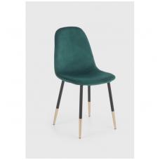 K379 tamsiai žalia metalinė kėdė