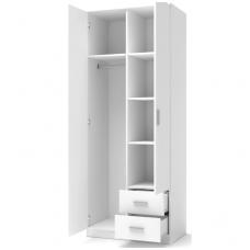 LIMA S-2 balta dviejų durų spinta su stalčiais