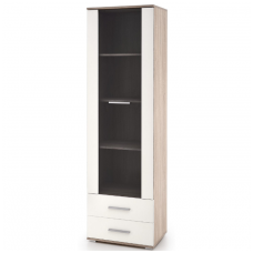 LIMA W-1 sonoma oak / white colored showcase with drawers