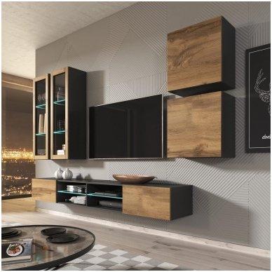 LIVO RTV-180W matinio antracito / ąžuolo votan spalvos pakabinamas TV stendas su stalčiumi 2