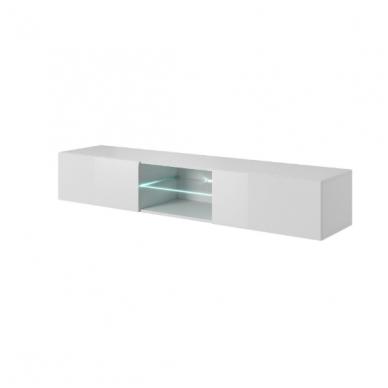LIVO RTV-180W baltas pakabinamas TV stendas su stalčiumi