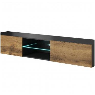 LIVO RTV-180W matinio antracito / ąžuolo votan spalvos pakabinamas TV stendas su stalčiumi