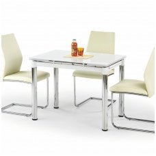LOGAN 2 baltas stiklinis išskleidžiamas valgomojo stalas