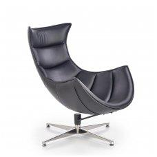 LUXOR juodas odinis fotelis