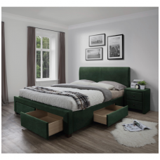 MODENA 3 bed with drawers dark green velvet
