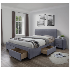 MODENA 3 bed with gray velvet drawers