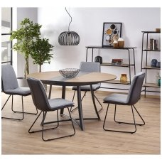 MORETTI golden oak / black matt colored extension dining table
