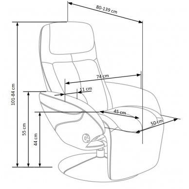 OPTIMA cappuccino spalvos fotelis su išskleidžiamu pakoju 2