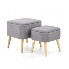 PULA grey pouf container x2