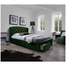 SABRINA 160 bed with drawers dark green