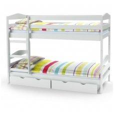 SAM balta dviaukštė lova su čiužiniais