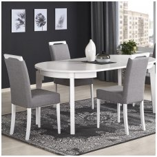SORBUS white round extension dining table
