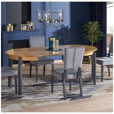SORBUS honey oak / graphite colored round extension dining table