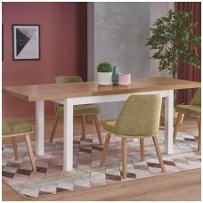 TIAGO 2 riviera oak / white colored extension dining table