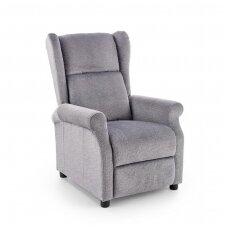 AGUSTIN M pilkas fotelis su išskleidžiamu pakoju ir masažo funkcija