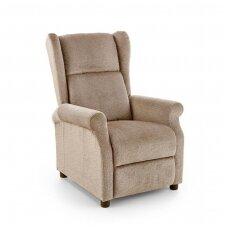 AGUSTIN M smėlio spalvos fotelis su išskleidžiamu pakoju ir masažo funkcija