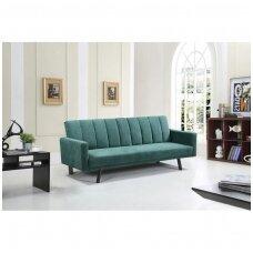 ARMANDO tamsiai žalia išskleidžiama minkšta sofa